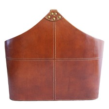 Tan Leather Handle Magazine Basket
