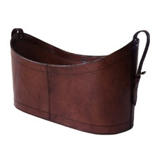 Dark Leather Open Magazine Basket