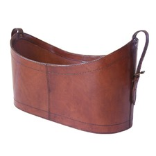 Tan Leather Open Magazine Basket