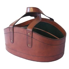 Tan Leather Wine Basket