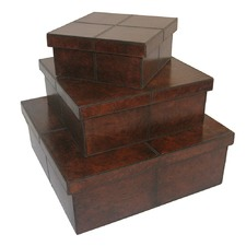Dark Leather Square Boxes (Set of 3)