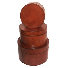 Tan Leather Round Boxes (Set of 3)