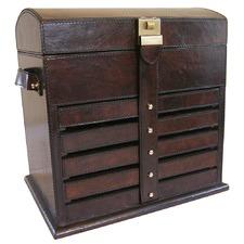 Dark Leather 6 Rack Jewellery Box