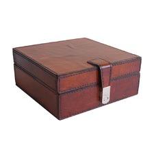 Tan Leather Square Box