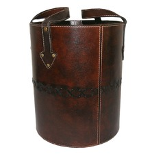Dark Leather Round Basket