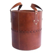 Tan Leather Round Basket