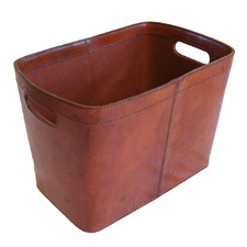 Tan Leather Magazine Basket