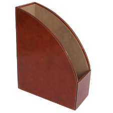 Tan Leather Tall Magazine Holder