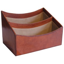 Tan Leather Office Letter Rack