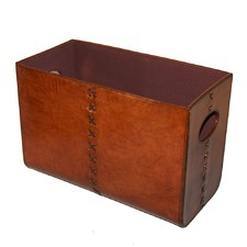 Tan Leather Rectangular Magazine Storage