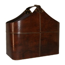 Dark Leather Magazine Storage