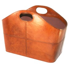Tan Leather Magazine Basket with Handles