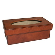 Tan Leather Tissue Box