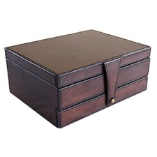 Dark Leather Jewellery Box with Draw