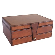 Tan Leather Jewellery Box with Draw