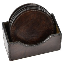 Dark Leather Round Coasters
