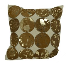 Golden Foil & Brown Leather Cushion Cover