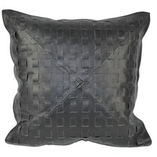 Black Leather Cushion Cover