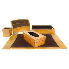 Golden Leather Desktop Set