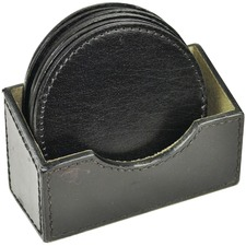 Set of 4 Round Leather Coasters & Container