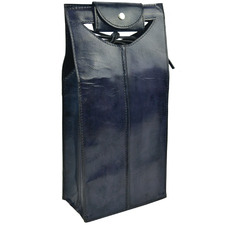 Blue Novellino Leather Double Wine Carrier