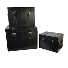 3 Piece Black Wright Leather Trunk Set