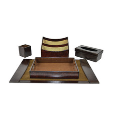 5 Piece Renzo Leather Desktop Set