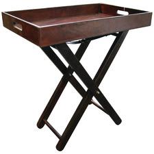 Dark Brown Mivar Leather Butler's Tray Table