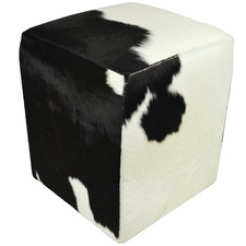 Black & White Juery Cube Leather Ottoman