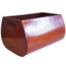 Tan Audison Leather Magazine Basket