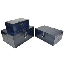 3 Piece Guerlain Leather Box Set