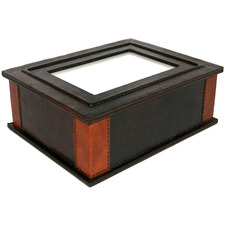 Dark Brown Pocher Leather Memory Box