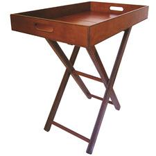 Tan Mivar Leather Butler's Tray Table