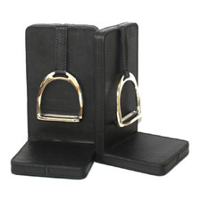 Large Buffalo Leather Bookends with Stirrup (Set of 2)