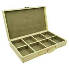 Cream Buffalo Leather Cufflink Box