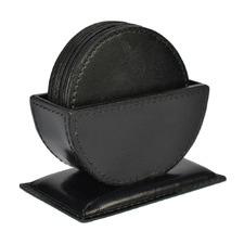 7 Piece Buffalo Leather Coaster & Holder Set