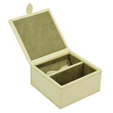 Cream Buffalo Leather Travel Jewellery Box
