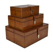 3 Piece Tan Leather Buffalo Boxes Set