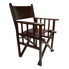 Dark Brown Buffalo Leather Director's Chair