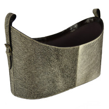 Grey Buffalo Leather Magazine Basket