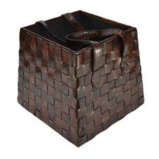 Buffalo Leather Basket with Handles