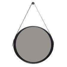 Large Sheena Round Buffalo Leather Wall Mirror