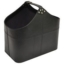 Black Buffalo Leather Buckle Basket