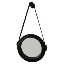 Sheena Round Buffalo Leather Wall Mirror