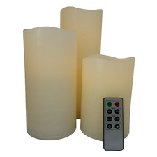 Set of 3 Safeflame LED Wax Pillar Candles