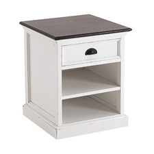 White & Dark Timber Meharry Bedside Table