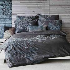 Charcoal Pascale Cotton Quilt Cover Set