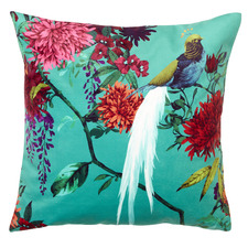 Teal Chintz Velvet Cushion