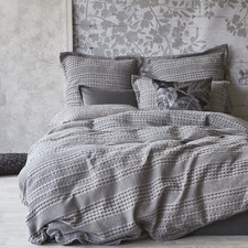 Silver Cotton Waffle Quilt Cover Set
