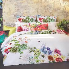 White Tropicana Cotton Quilt Cover Set